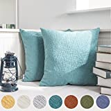 """Kevin Textile Solid Christmas Velvet Decoration Toss Throw Pillow Case Cushion Cover Comfortable Pillow Cover Soft Striped Decorative Pillowcase for Bed/Chair/Couch, 18""""x18""""(45cm),2 pcs,Niagara Blue"""