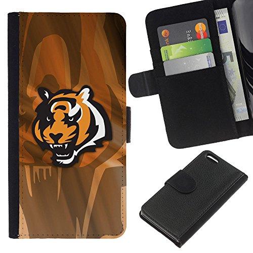 Funny Phone Case // Cuir Portefeuille Housse de protection Étui Leather Wallet Protective Case pour Apple Iphone 5C /Angry Tiger/