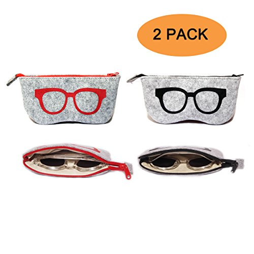 2 Pack Eyeglass Case Pouch, Polersun Portable Soft Felt Sunglasses Case Zipper Ultra Light Thicken Inside Glasses Makeup Storage Pouch - Sunglasses Fabric
