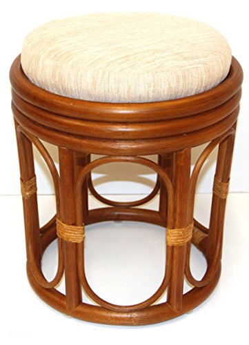 Handmade Round Stool ECO Rattan Wicker w/ Cushion Color Cognac (Wicker Vanity Stool)