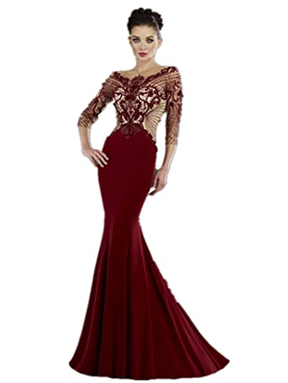 9bdf8af2813 Fenghuavip Round Neck 3 4 Sleeves Red Wine Satin Mermaid Evening Dress Long  (4