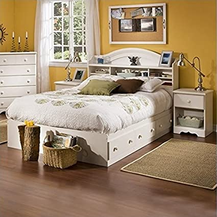 Incroyable South Shore Summer Breeze Kids Full Wood Bookcase Bed 3 Piece Bedroom Set  In White Wash