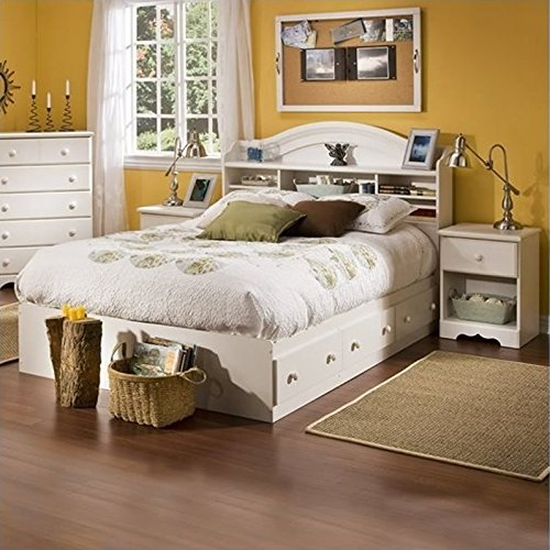 South Shore Summer Breeze Kids Full Wood Bookcase Bed 3 Piece Bedroom Set in White Wash by South Shore