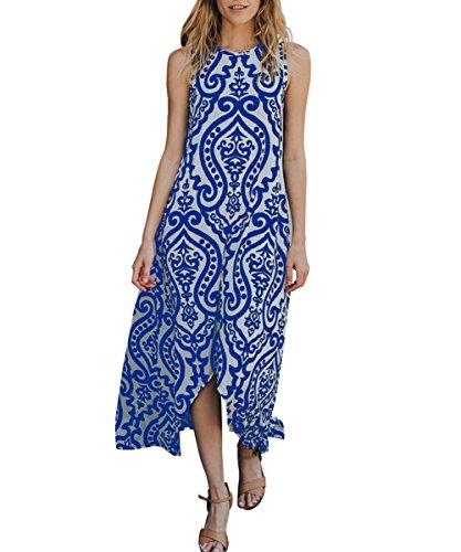 ZESICA Womens Damask Print Sleeveless Pocket Long Beach Maxi Dress