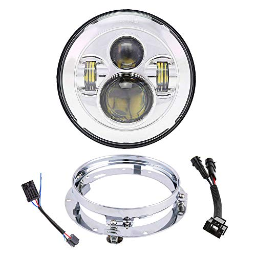 Harness Motorcycle Davidson Harley (7 Inch LED Headlight With Mounting Bracket Ring + Wire Harness For Harley Davidson 1994-2018 Road King Road Glide Street Glide Electra Glide Ultra Limited Fat Boy Motorcycle Headlamp (Chrome))