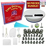 Cake Decorating Supplies - (60PCS SPECIAL CAKE DECORATING KIT) With LARGE Numbered Tips, Cake Rotating Turntable, 24 icing tips and more! Create BEAUTIFUL Cakes With This Complete Cake Set!