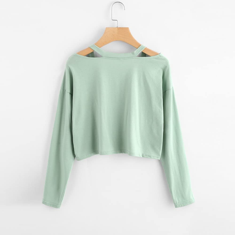 Skang Sweat-Shirt Courte Femme Rose Imprim/é T-Shirt Casual Manches Longues Ado Fille Pull Chic Pull Sweat Tops Solide Blouse