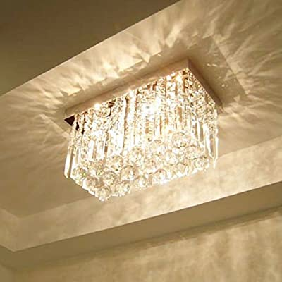(USA Warehouse) Square Crystal Ceiling Flush Mount Pendant Lamp Chandelier Fixture Light E12/E14 -/PT# HF983-1754355970