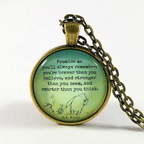 Winnie the Pooh Quote Necklace Glass Pendant and Chain Pooh and ()
