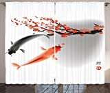 Curtains with Fish on Them Ambesonne Japanese Curtains, Koi Carp Fish Couple Swimming with Cherry Blossom Sakura Branch Culture Design, Living Room Bedroom Window Drapes 2 Panel Set, 108 W X 90 L Inches, Orange Grey