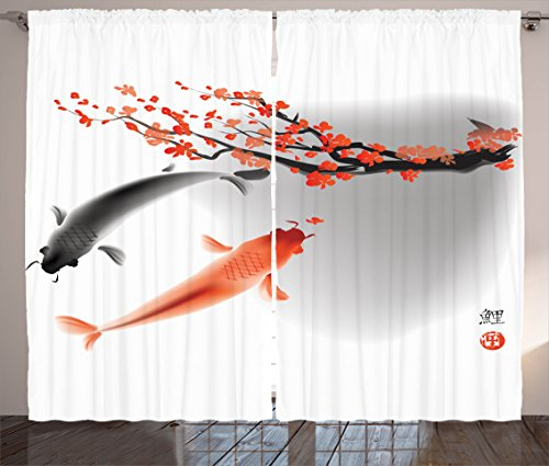 Japanese Curtains by Ambesonne, Koi Carp Fish Couple Swimming with Cherry Blossom Sakura Branch Culture Design, Living Room Bedroom Window Drapes 2 Panel Set, 108 W X 84 L Inches, Orange Grey (On Kitchen Them Curtains Cherries With)