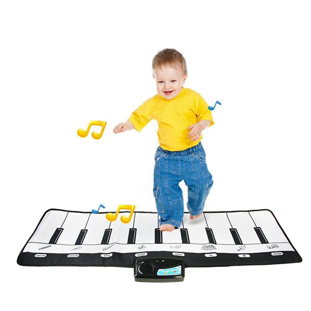TEEPAO Giant Piano Music Mat, Black White Floor Keyboard Playmat Electronic Dance Mat Music Carpet for Kids Toddlers Children, 8 Selectable Musical Instruments, 10 Sounds - 43'' 14'' by TEEPAO (Image #1)