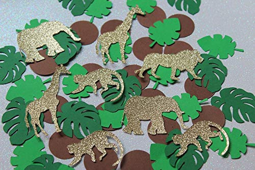 Jungle Confetti - Gold Glitter Safari Confetti - Baby Shower Table Scatter (Set of 200 Pieces)
