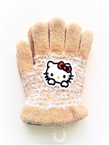 Fuzzy-hello-kitty-warm-gloves-for-children-ages-2-5-years-various-colors-1-pair (Brown)