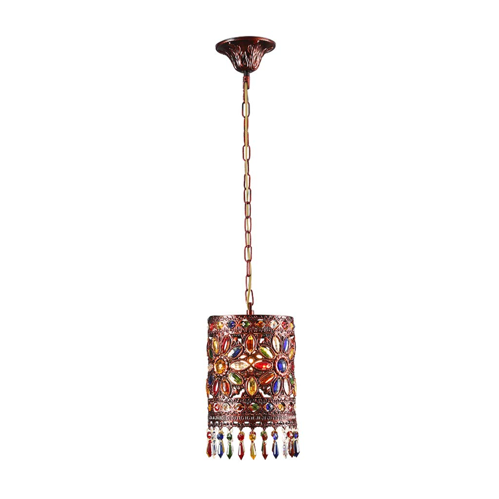 Cafe Chandelier-bar Restaurant Light, Southeast Asian Color Crystal Lamp Single Head Chandelier