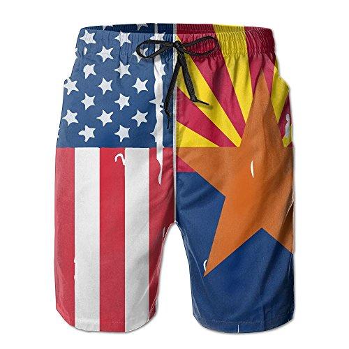 - American Arizona Flag Summer Boardshorts, Mens Beach Pants with Pocket