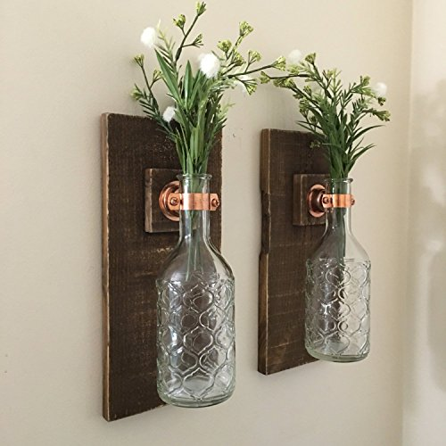 Amazon.com: Wall Sconce (SET OF TWO) Hanging Flower Vases, Rustic ...