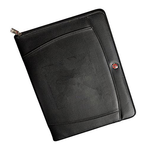 Wenger Zippered Padfolio Note Pad Writing Pad, Black