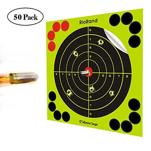 Shooting Targets 12 Inch Self Adhesive Paper Reactive Splatter Targets Stickers 50 Pack for Gun Rifle Pistol Bb Gun AirSoft Pellet Gun Air Rifle - Grid Target