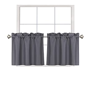 Home Queen Blackout Rod Pocket Tier Curtains for Small Window, Short Room Darkening Kitchen Curtains, Café Drapes, 2 Panels, 30 W X 24 L Inch Each, Charcoal