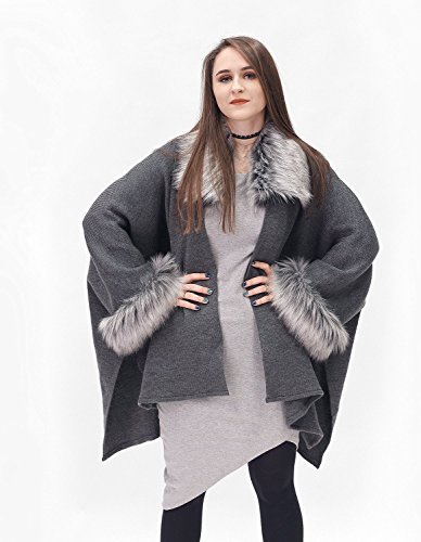 Elegant grey and silver brown half-woolen cardigan with high quality faux fur - made by Irena Fashion by ScarecrowStudio