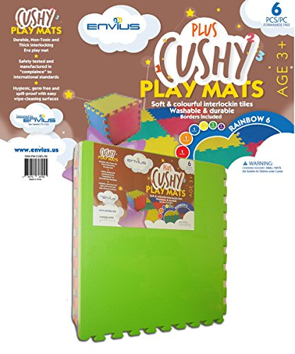 EnviUs Cushy Plus Play Mat Rainblow 6 : Formamide Free Ultra Thick & Large 6 Pieces (6 Colors) 24