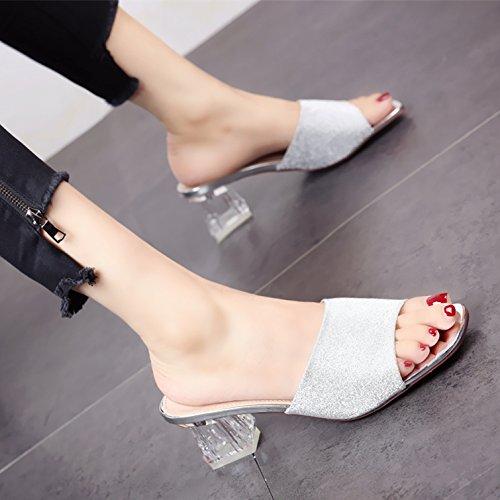 YMFIE Taladro de Verano Transparente TALÓN TALÓN TALÓN áspero Medio Zapatillas Moda Temperamento Confort Toe Sandalias señoras Antideslizante Calzado de Playa. silvery