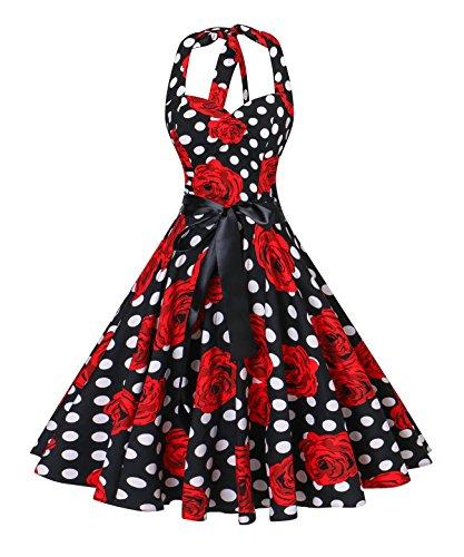 v fashion Women's Vintage 1950s Halter Neck Polka Dot Audrey Hepburn Dress 50s Retro Swing Dresses With Belt,White Dot Red Roses,XX-Large (Audrey Hepburn Dress Dot Polka)