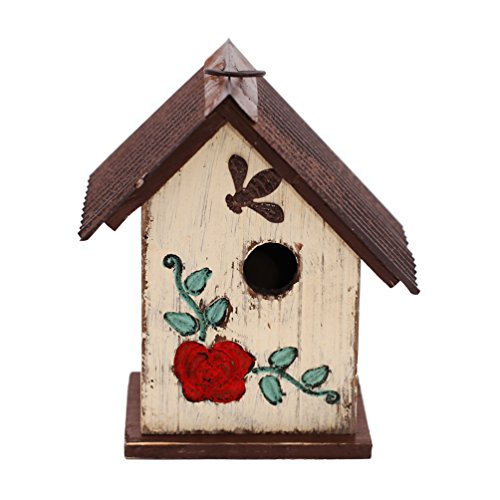 A Ting Wooden Carved Floral Birdhouse with Hanging(White) - Wooden Birdhouses