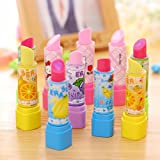Katoot@ 5pcs/lot Cute fruit Lipstick Eraser Kawaii pencil erasers for kids stationery canetas office school supplies escolar