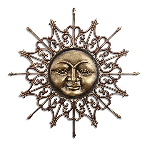 SPI Aluminum Wall Plaque of Radiant Sun with Face