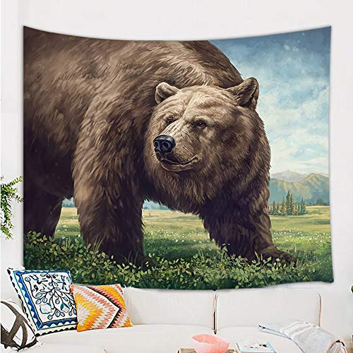 NYMB Brown Bear Tapestry, Big Cat Bear in Wild Mountain Forest Prairie Landscape Tapestry Blankets, Watercolor Giant Wild Animals Tapestry Wall Hanging for Bedroom Living Room Dorm Ceiling 71X60 in