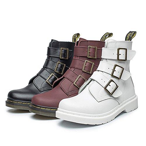 JACKSHIBO Damen Winter Leder Warm Kurzschaft Mode Wasserdicht Stiefel Ankle Boots Winterschuhe Rot
