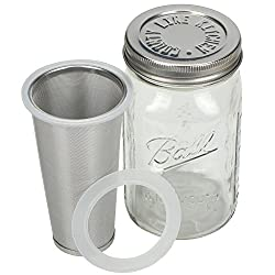 Cold Brew Mason Jar Coffee Maker by County Line Kitchen – 1 Quart, 32 oz – Durable Glass Jar, Heavy Duty Stainless Steel…