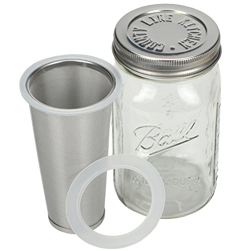 Cold Brew Coffee Maker by County Line Kitchen – 1 Quart – Make Amazing Cold Brew Coffee and Tea with This Durable Mason Jar and Stainless Steel Filter and Stainless Steel Lid