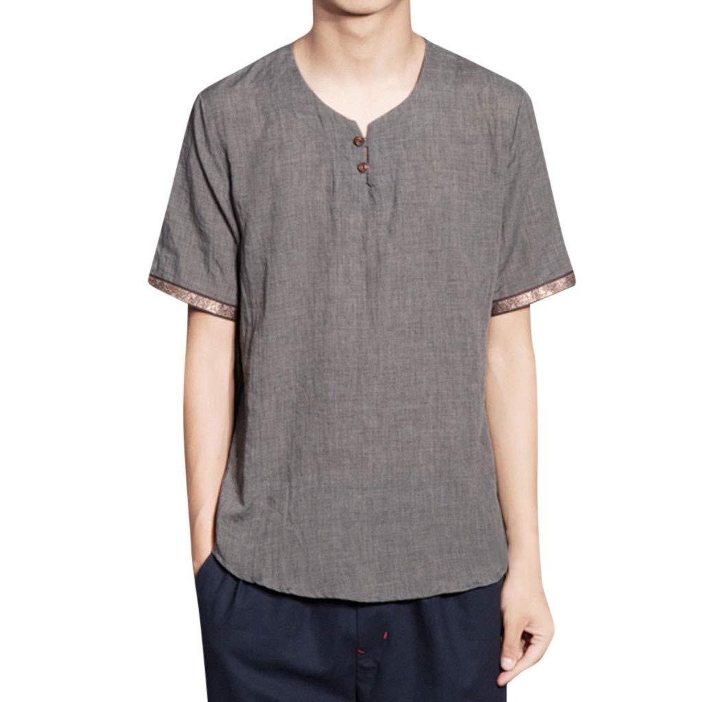 Men Summer Tops,Fineser Mens Baggy Cotton Linen Solid Color Short Sleeve Button Retro Casual Loose T Shirts Tops