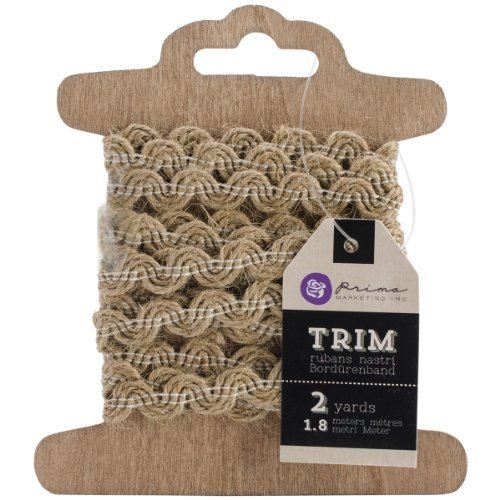 Prima Marketing Trim 3-Card Assortment, 2-Yard, Stitched Burlap, White (Assortment Carded)
