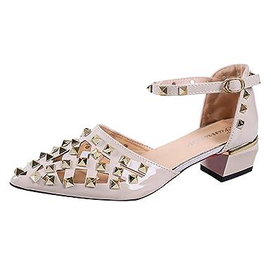Sandalias Mujer Verano Moda Casual para Mujer Punto de Remache Toe Sandalias de tacón Cuadrado Med Tacones Zapatos de Fiesta Sandalias de Fiesta: Amazon.es: ...