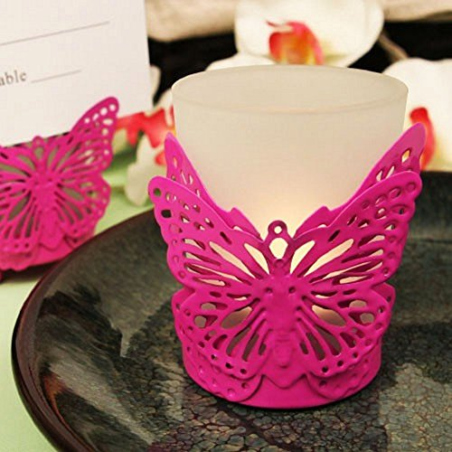 Pink Latticed Butterfly Shaped Steel Candle Holder With Tea Light Candle - 96 (Pink Butterfly Candle Holder)