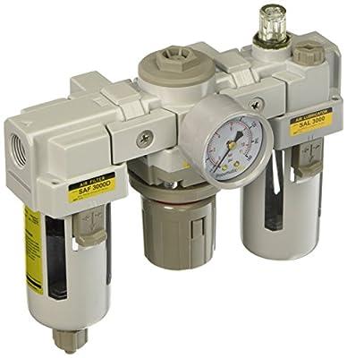 "PneumaticPlus SAU3000M-N03G-MEP 3 Unit Combo Compressed Air Filter Regulator Lubricator, 3/8"" Pipe Size, NPT-Manual Drain, Metal Bowl, 10 m with Gauge"