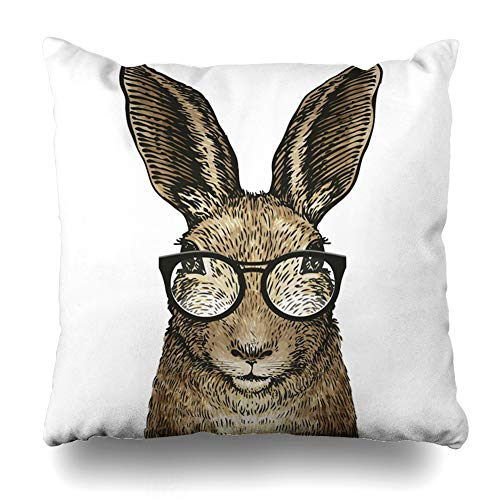 w Covers Hipster Brown Rabbit Cute Easter Bunny Glasses Adorable Wildlife Vintage Hare Happy Leveret Design Home Decor Zippered Cushion Case Square Size 18