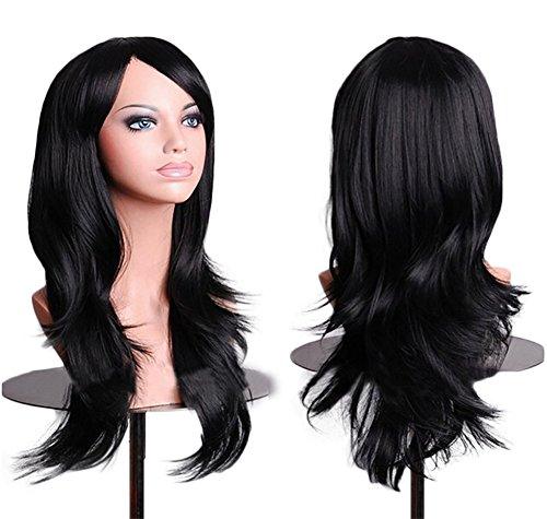 Long Black Hippie Hair Wig (Tititina 28inch Womens Black Wigs Curly Long Cosplay Wavy Hair With Free Wig Cap and Antistatic Comb)