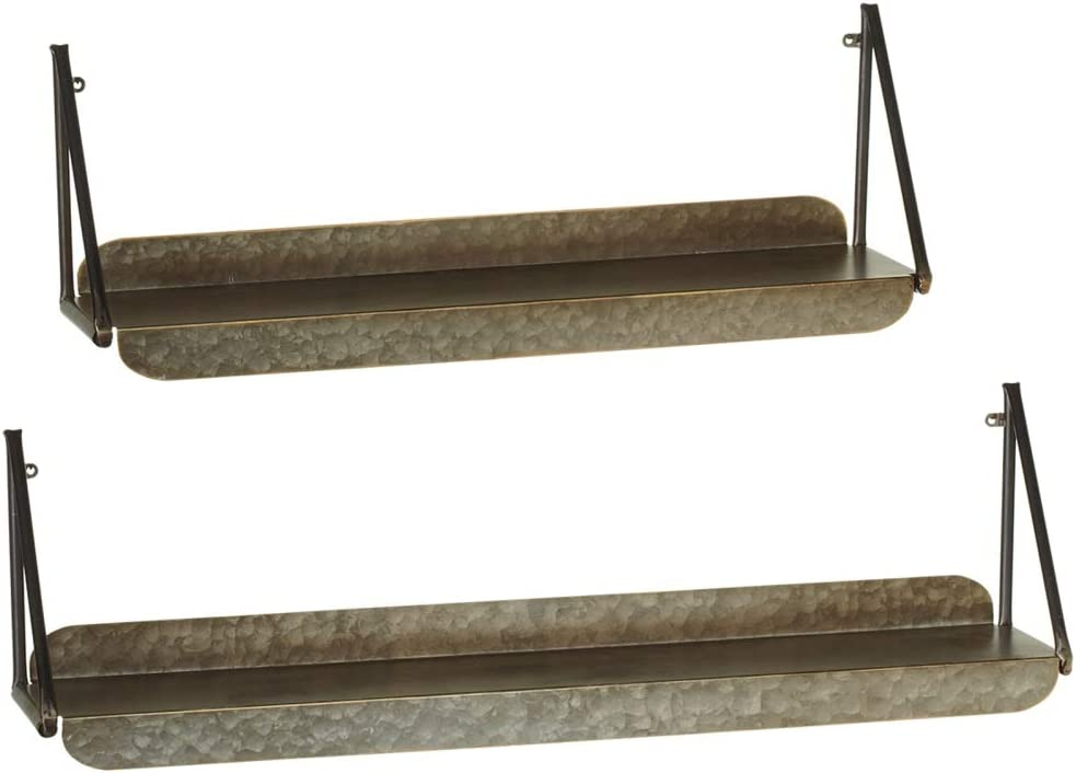 """Diva At Home Set of 2 Distressed Silver Hanging Galvanized Metal Wall Shelf 30"""""""