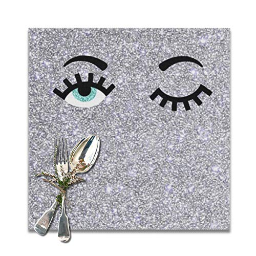 (BUN Placemats Square Set of 6 for Dining Room Kitchen Table Decor, Girl Eyes Glittering Print Table Mats Washable)