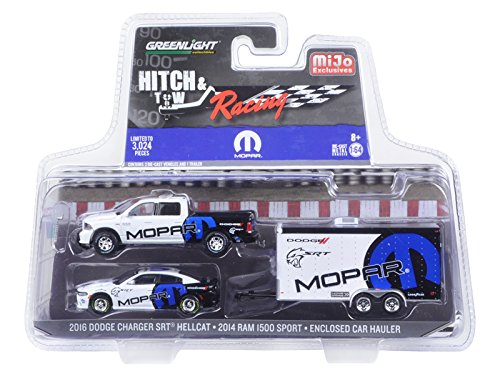 2014 Dodge Ram 1500 Pickup Truck and 2016 Charger SRT Hellcat with Car Hauler MOPAR Hitch & Tow Racing Edition 1/64 Diecast Model Car by GreenLight 51061D