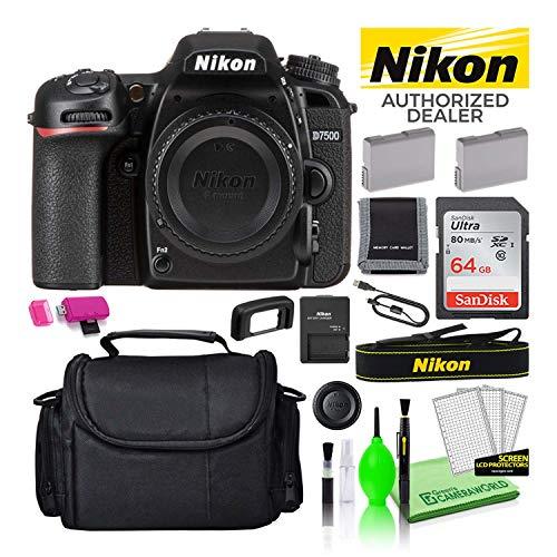 Nikon D7500 20.9MP DSLR Digital Camera (Body Only) (1581) USA Model Deluxe Bundle Kit -Includes- Sandisk 64GB SD Card + Large Camera Gadget Bag + Spare EN-EL15 Battery + Camera Cleaning Kit + More