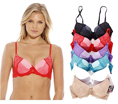 Just Intimates Bras for Women – Petite to Plus Size/ Full Figure (Pack of 6) – 32A, Deep Plunge Bra with Lace