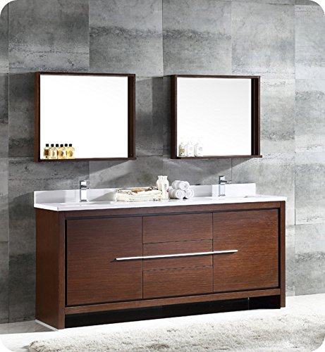 Fresca Bath FVN8172WG Allier Modern Double Sink Bathroom Vanity with Mirror, Wenge -