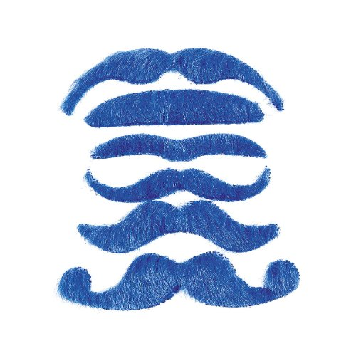 12 Synthetic Mustache Assortment - Costume Moustache (Blue)