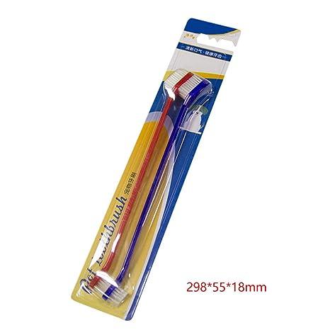 Belletryh88 Cepillo de Dientes 2 Piezas Gato Kit Perro Oral Higiene Doble Extremo Manual Pet Dental